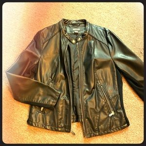 Faux leather black moto jacket Kenneth Cole